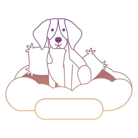 cute beagle dog in bed over white background, vector illustration Vettoriali