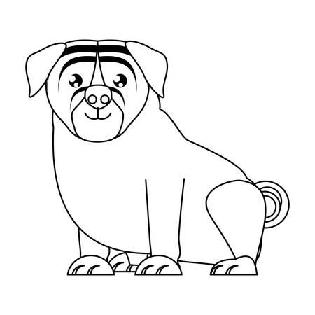 pug dog icon over white background, vector illustration Ilustrace