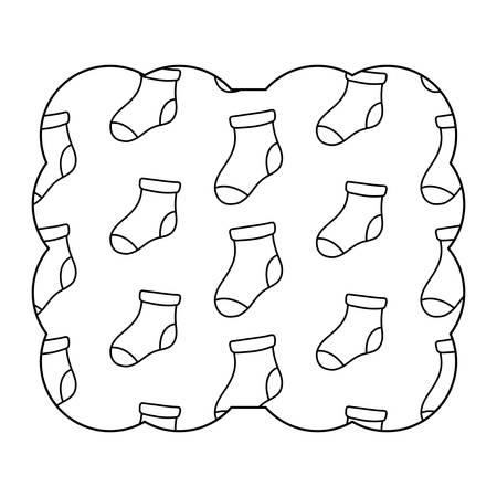 decorative frame with baby socks pattern over white background, vector illustration