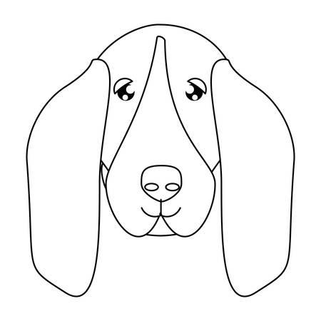 cute basset hound dog icon over white background, vector illustration