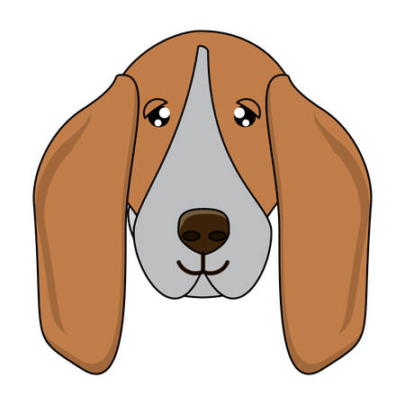 cute basset hound dog icon over white background, vector illustration