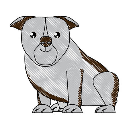 cute bulldog dog icon over background, vector illustration