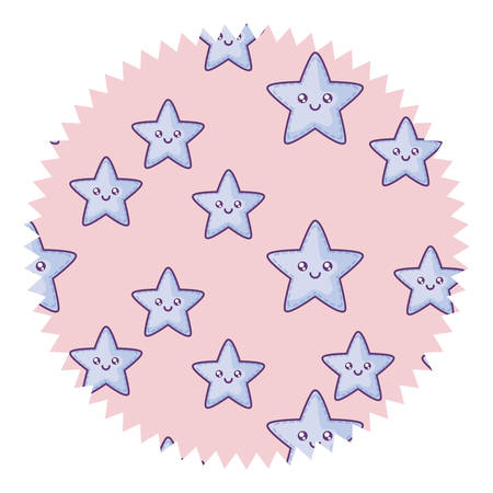seal stamp with kawaii stars pattern over white background, vector illustration Иллюстрация