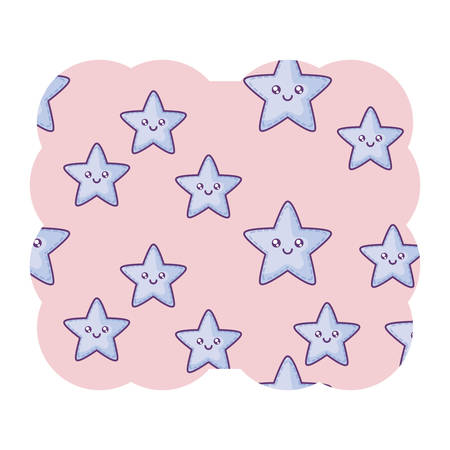 decorative frame with kawaii stars pattern over white background, vector illustration