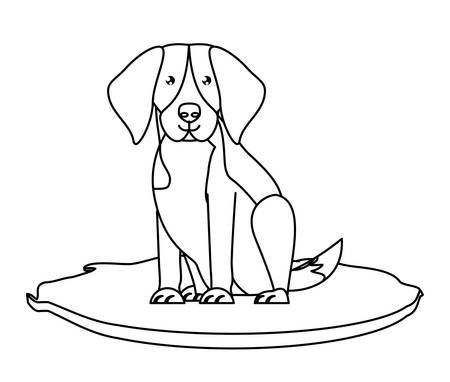 cute beagle dog icon over white background, vector illustration