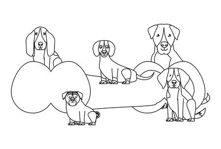 bone with cute dogs around over white background, vector illustration