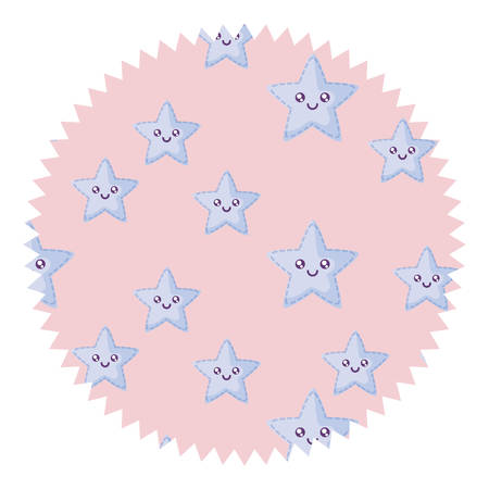 seal stamp with stars pattern over white background, vector illustration