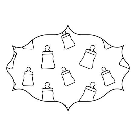 arabic frame with baby bottle pattern over white background, vector illustration