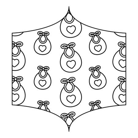 decorative frame with baby bib pattern over white background, vector illustration