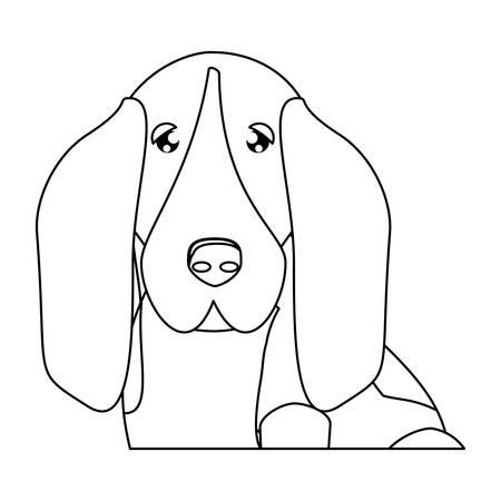 cute basset hound dog icon over background, vector illustration
