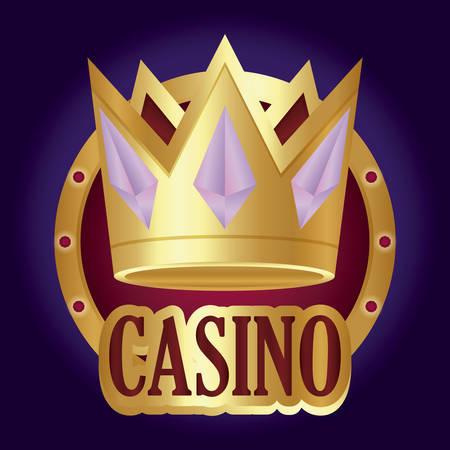 casino design with crown icon over purple background, colorful design. vector illustration Ilustração