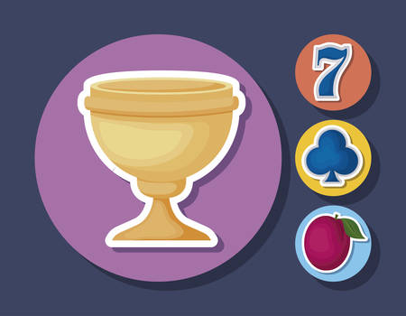 cup and casino related icons over colorful circles and blue background, vector illustration