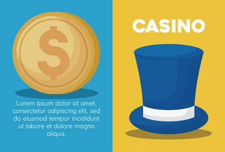 Infografía del concepto de casino con icono de moneda y sombrero de copa sobre fondo de colores, diseño colorido. ilustración vectorial Ilustración de vector