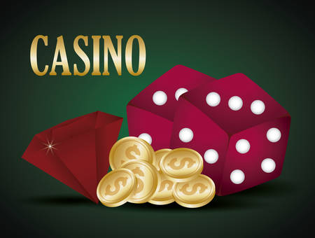 casino design with dices and money coins over green background, colorful design. vector illustration