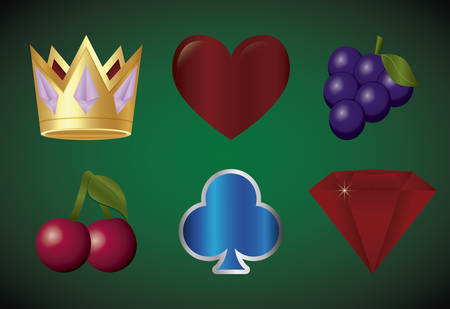 casino icon set over green background, colorful design. vector illustration