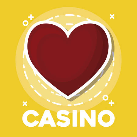 casino design with heart icon over yellow background, colorful design. vector illustration