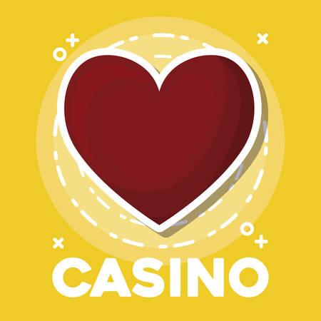 Diseño de casino con icono de corazón sobre fondo amarillo, diseño colorido. ilustración vectorial