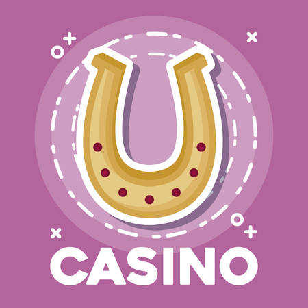 casino design with horseshoe icon over pink background, colorful design. vector illustration