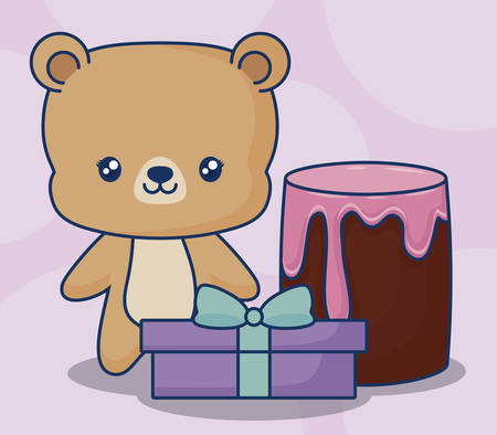 cute bear with cake and gift box over pink background, colorful design. vector illustration