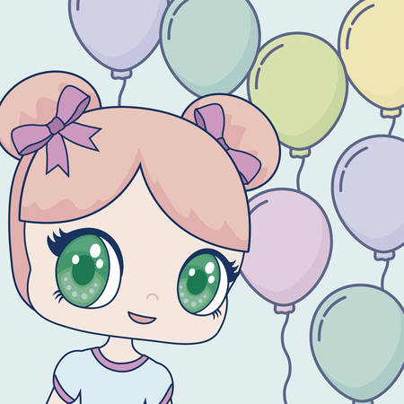 Happy birthday design with kawaii anime girl icon over blue balloons and background, colorful design. vector illustration