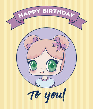 Happy birthday design with kawaii anime girl icon over yellow background, colorful design. vector illustration