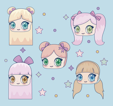 kawaii girls icon over blue background, colorful design. vector illustration