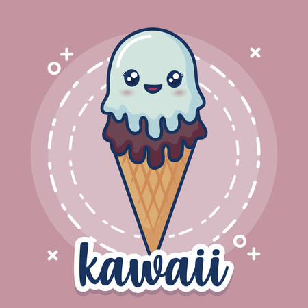 kawaii ice cream cone icon over pink background, colorful design. vector illustration