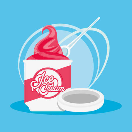 delicious ice cream pot vector illustration design