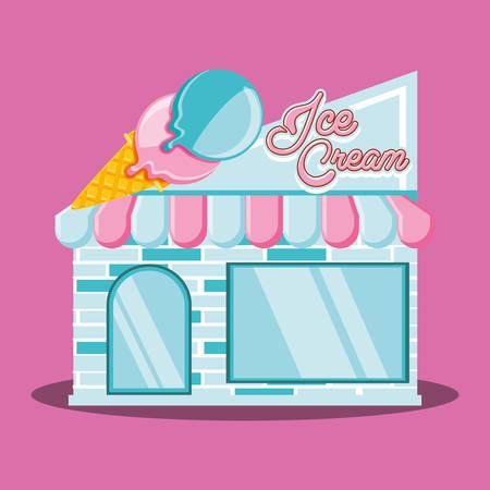 ice cream shop facade vector illustration design Vettoriali
