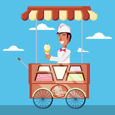 ice cream salesman in cart kiosk character vector illustration design