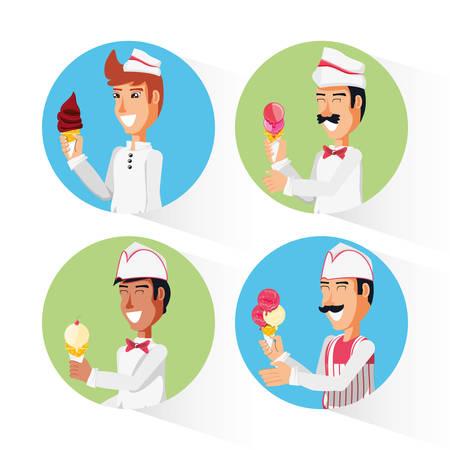 group ice cream salesmen characters vector illustration design