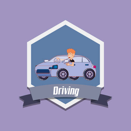 drive safely emblem design with happy man driving a car over purple background, colorful design vector illustration Vettoriali