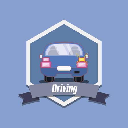 drive safely emblem design with car icon over blue background, colorful design vector illustration Illusztráció