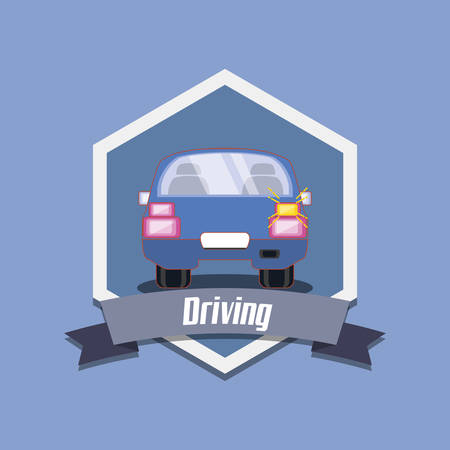 drive safely emblem design with car icon over blue background, colorful design vector illustration Illustration
