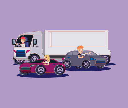people driving a cargo truck and sport cars over purple background, colorful design. vector illustration