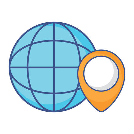 global sphere and location pin over white background, vector illustration