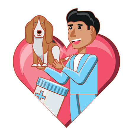 heart with vet doctor holding a cute dog over white background, vector illustration