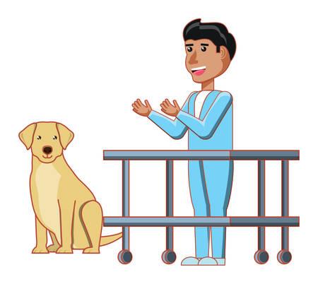 vet doctor and labrador over white background, vector illustration