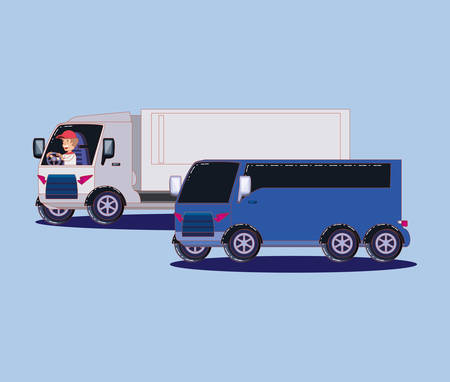 cargo truck and bus over blue background, colorful design. vector illustration