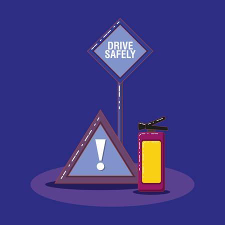 drive safely design with warning sign and extinguished over blue background, colorful design vector illustration