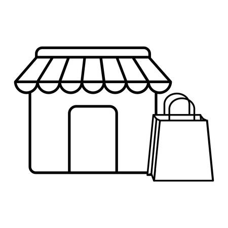store and shopping bag icon over white background, vector illustration