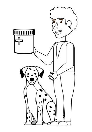 cute dalmatian and vet holding a pills bottle over white background, vector illustration