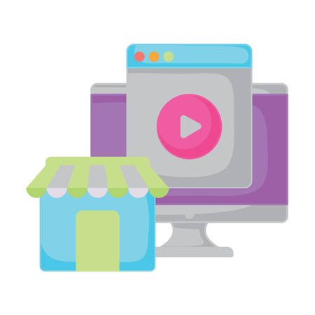 computer and store over white background, vector illustration