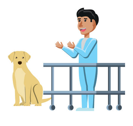 vet doctor and labrador over white background, vector illustration