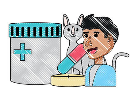vet doctor with cute cat and medicine bottle over white background, vector illustration