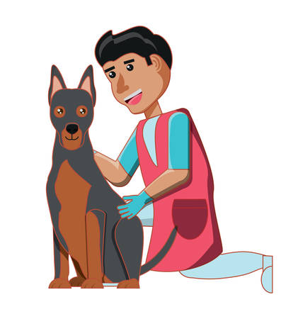cartoon veterinary man with cute doberman dog over white background, colorful design. vector illustration 矢量图像