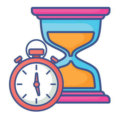 hourglass and chronometer over white background, vector illustration