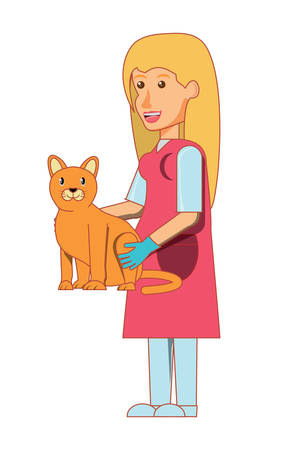 cartoon doctor vet holding a cute kitty over white background. vector illustration Illustration