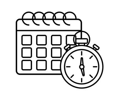calendar planner and chronometer over  white background, vector illustration Stock Illustratie