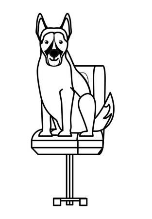 cute german shepherd dog on office chair over white background, vector illustration